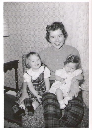 "Our ""Dear Aunt"" with my sister (2years) and me (6 months)"